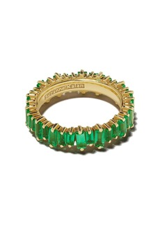 Suzanne Kalan 18kt yellow gold Fireworks emerald baguette eternity band