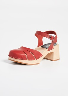 Swedish Hasbeens Baskemslla Ankle Strap Clogs