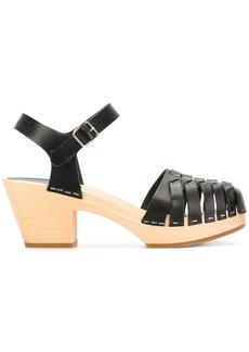 Swedish Hasbeens Snake sandals - Black