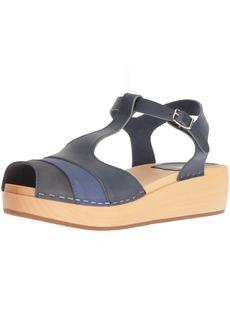swedish hasbeens Women's 90's T-Strap Wedge Sandal  3 Regular EU (3- US)