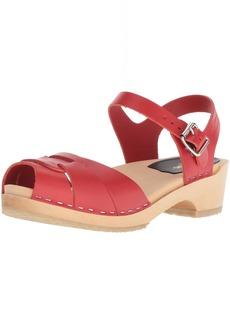 swedish hasbeens Women's Peep Toe Low Heeled Sandal  39 Regular EU (39-9 US)