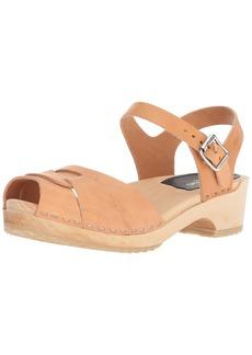 swedish hasbeens Women's Peep Toe Low Heeled Sandal Red 3 Regular EU (3- US)