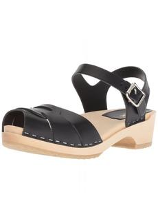 swedish hasbeens Women's Peep Toe Low Heeled Sandal Red 39 Regular EU (39-9 US)
