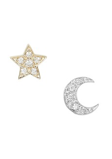 Sydney Evan Two-Tone Crescent Moon and Star Studs