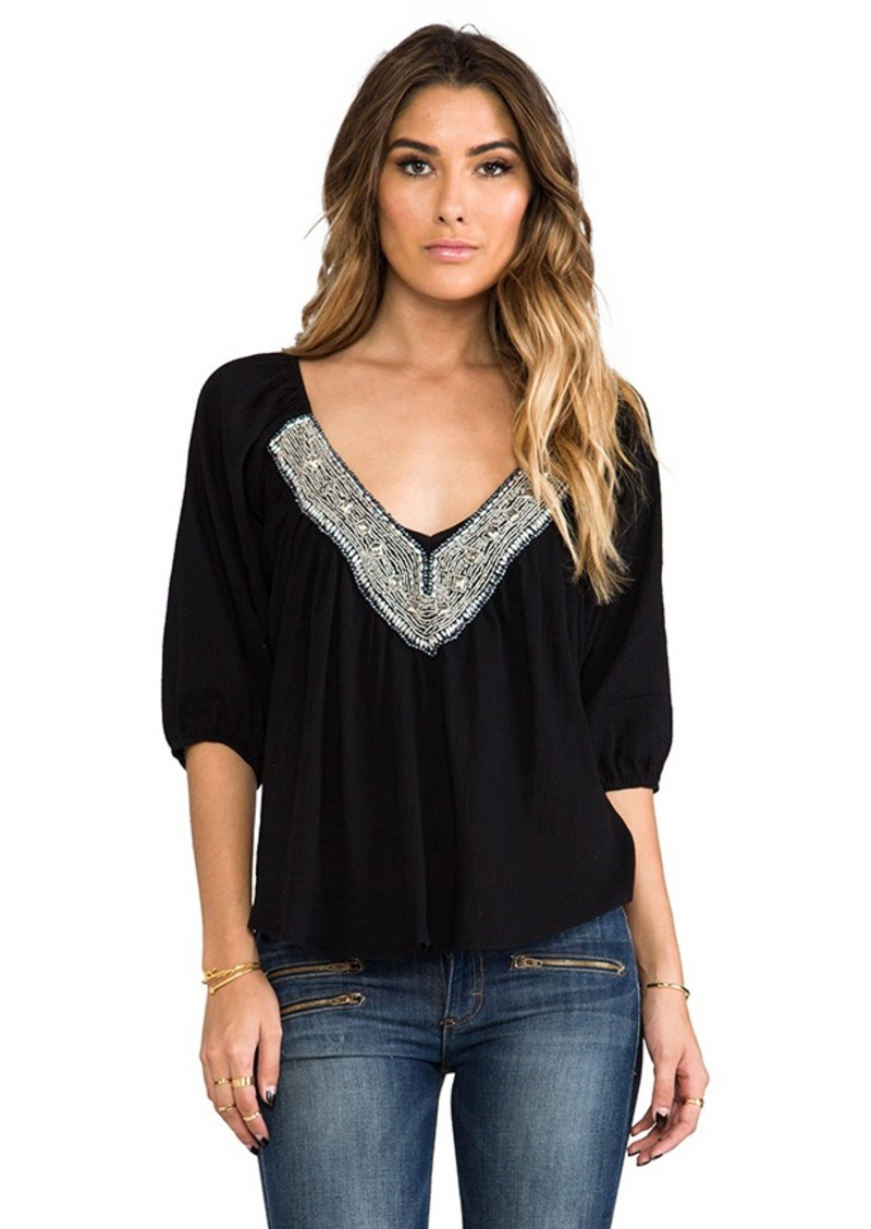 T-Bags LosAngeles Embellished Long Sleeve Top in Black