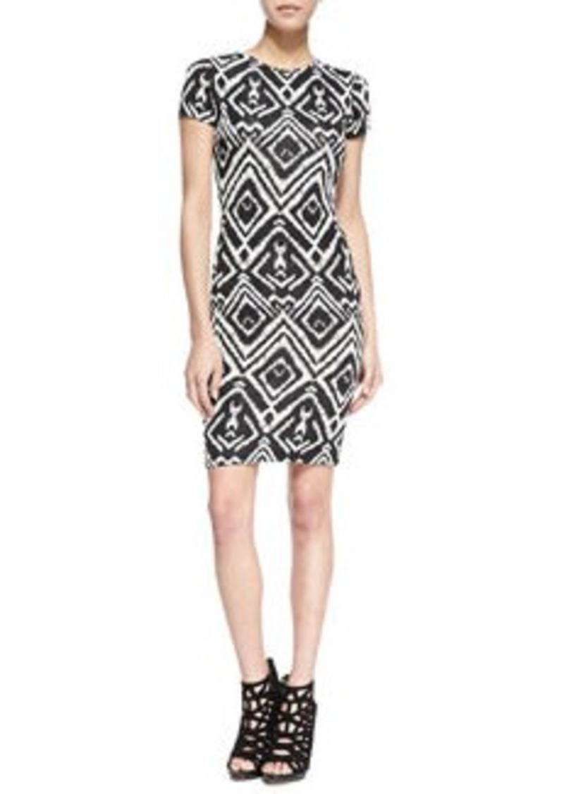 T-Bags T Bags Short-Sleeve Diamond-Print Cutout Dress, Black/White