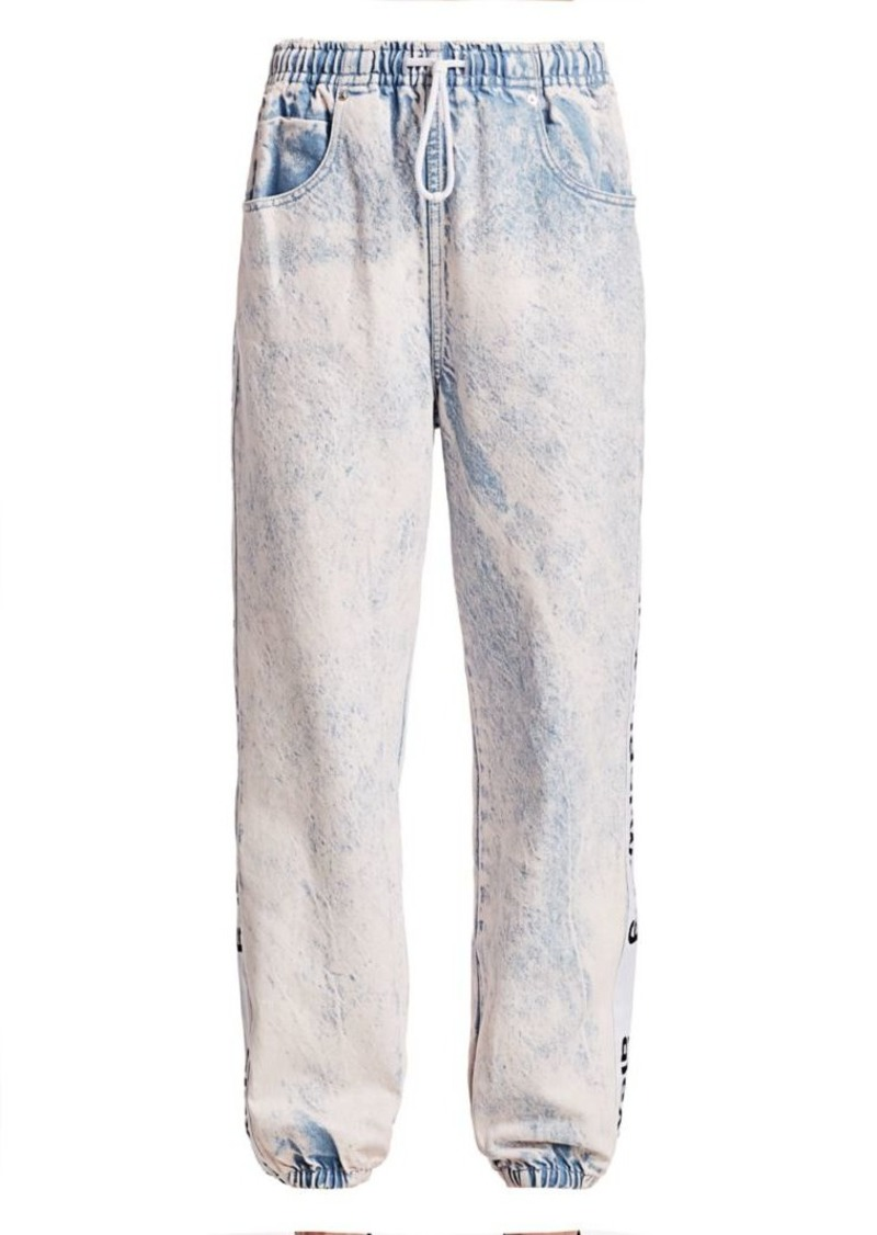 T by Alexander Wang Acid Wash Logo Tapered Jeans