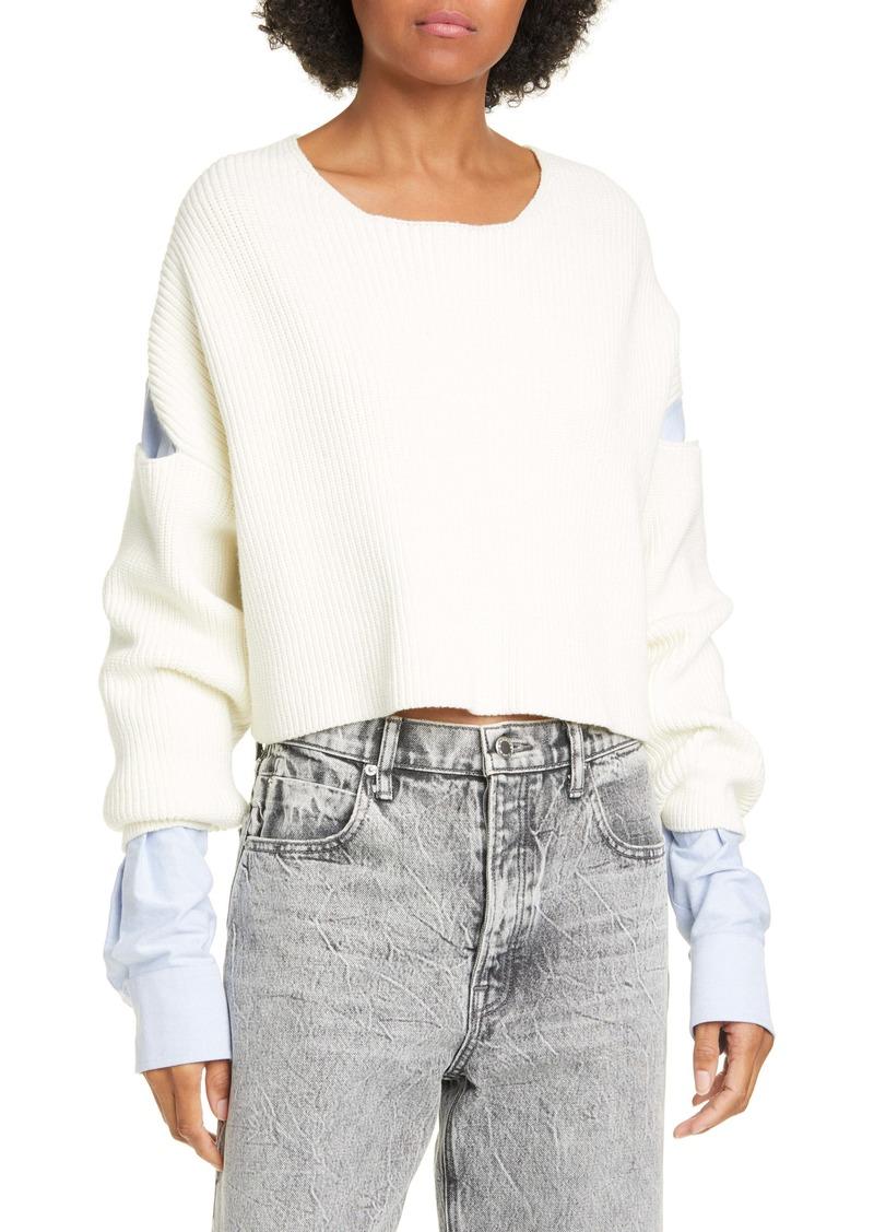 T by Alexander Wang alexander wang.t Patchwork Crop Shirt Sweater
