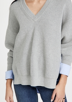 T by Alexander Wang alexanderwang.t Bi-Layer V Neck Pullover with Oxford Shirting