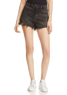 T by Alexander Wang alexanderwang.t Bite High-Rise Denim Cutoff Shorts in Gray Aged