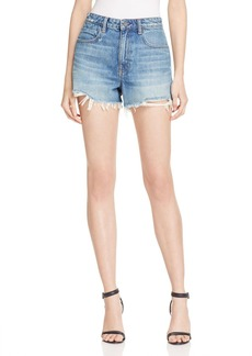 T by Alexander Wang alexanderwang.t Bite High Rise Frayed Shorts in Light Indigo Aged