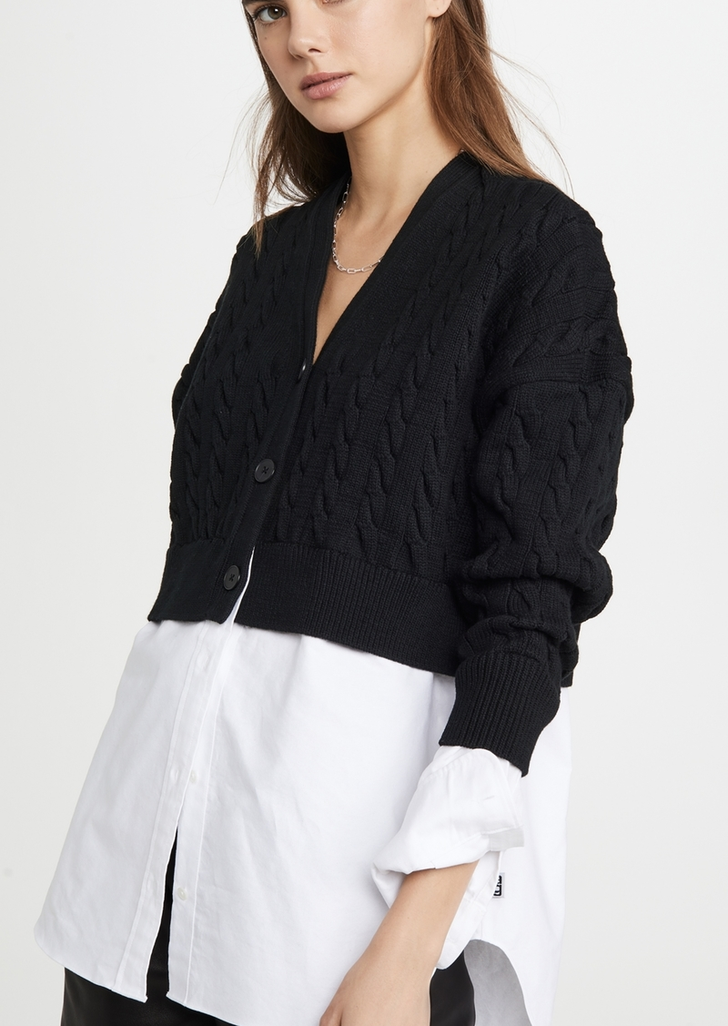 T by Alexander Wang alexanderwang.t Cable Bi Layer Cardigan with Oxford Shirt