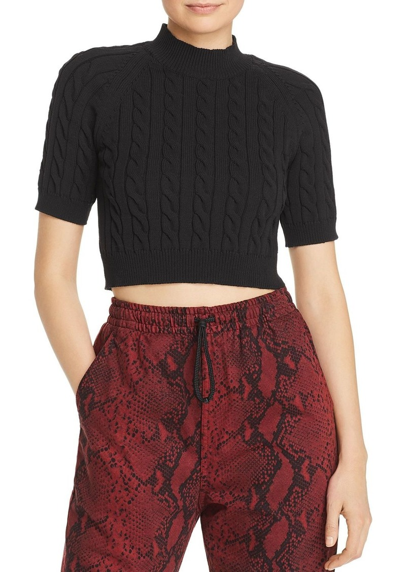 T by Alexander Wang alexanderwang.t Cable Knit Crop Top