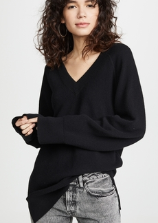 T by Alexander Wang alexanderwang.t Classic Long Sleeve Deep V Tunic Sweater