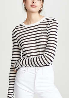 T by Alexander Wang alexanderwang.t Classic Striped Slub Jersey Long Sleeve Tee