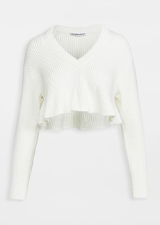 T by Alexander Wang alexanderwang.t Cropped V Neck Pullover