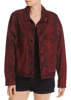 T by Alexander Wang Alexanderwang.t Game Snakeskin Print Denim Jacket