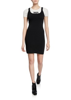 T by Alexander Wang alexanderwang.t Layered Open-Back Knitted Logo Fitted Dress
