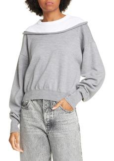 T by Alexander Wang alexanderwang.t Peelaway Bi-Layer Crop Sweater