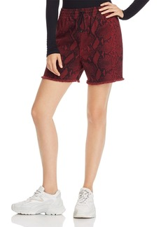 T by Alexander Wang alexanderwang.t Printed Denim Shorts in Red Snake