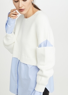 T by Alexander Wang alexanderwang.t Ribbed Bi Layer Pullover with Oxford Shirt