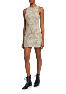 T by Alexander Wang alexanderwang.t Sleeveless Cheetah-Print Mini Sheath Dress