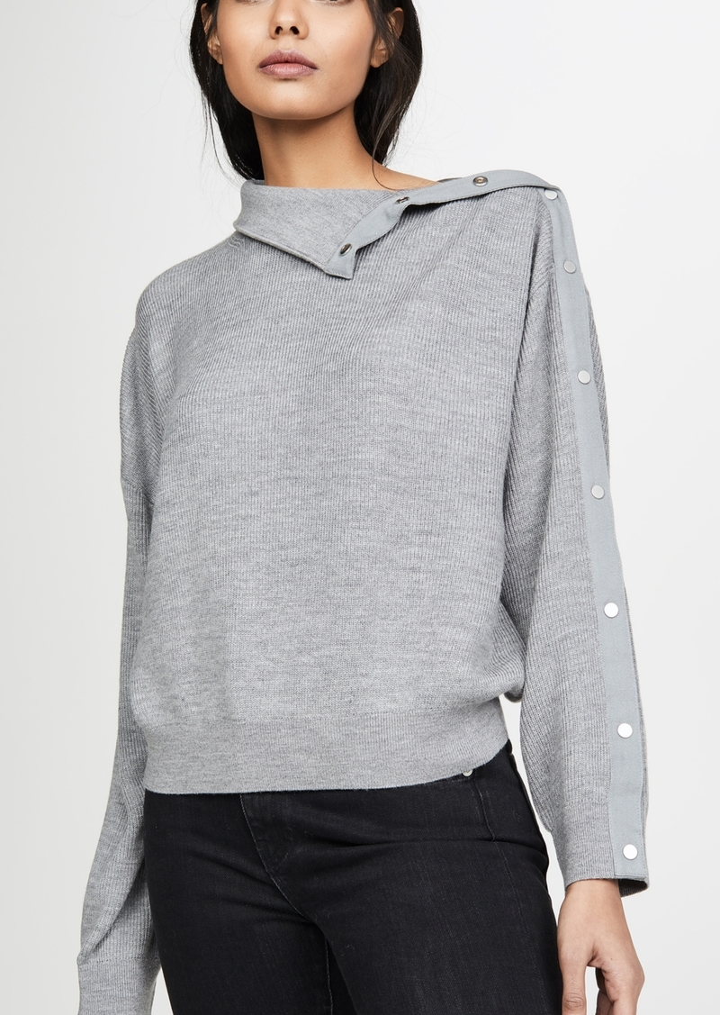 T by Alexander Wang alexanderwang.t Snap Hybrid Cropped Turtleneck Pullover