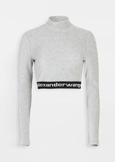 T by Alexander Wang alexanderwang.t Stretch Corduroy Crop Top with Logo
