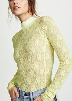 T by Alexander Wang alexanderwang.t Stretch Lace Long Sleeve Bodysuit
