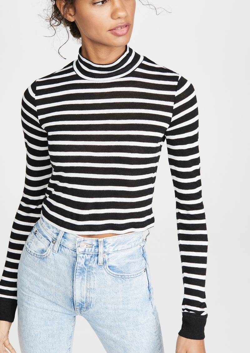 T by Alexander Wang alexanderwang.t Striped Slub Crop Mock Neck Tee