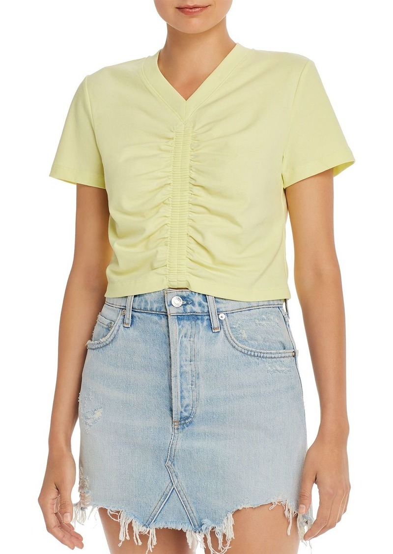 T by Alexander Wang Alexanderwang.t Wash & Go Cropped Ruched Tee