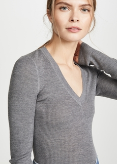 T by Alexander Wang alexanderwang.t Wash & Go Knit V Neck Top
