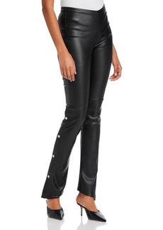 T by Alexander Wang alexanderwang.t Washable Faux Leather Pants with Snap Details