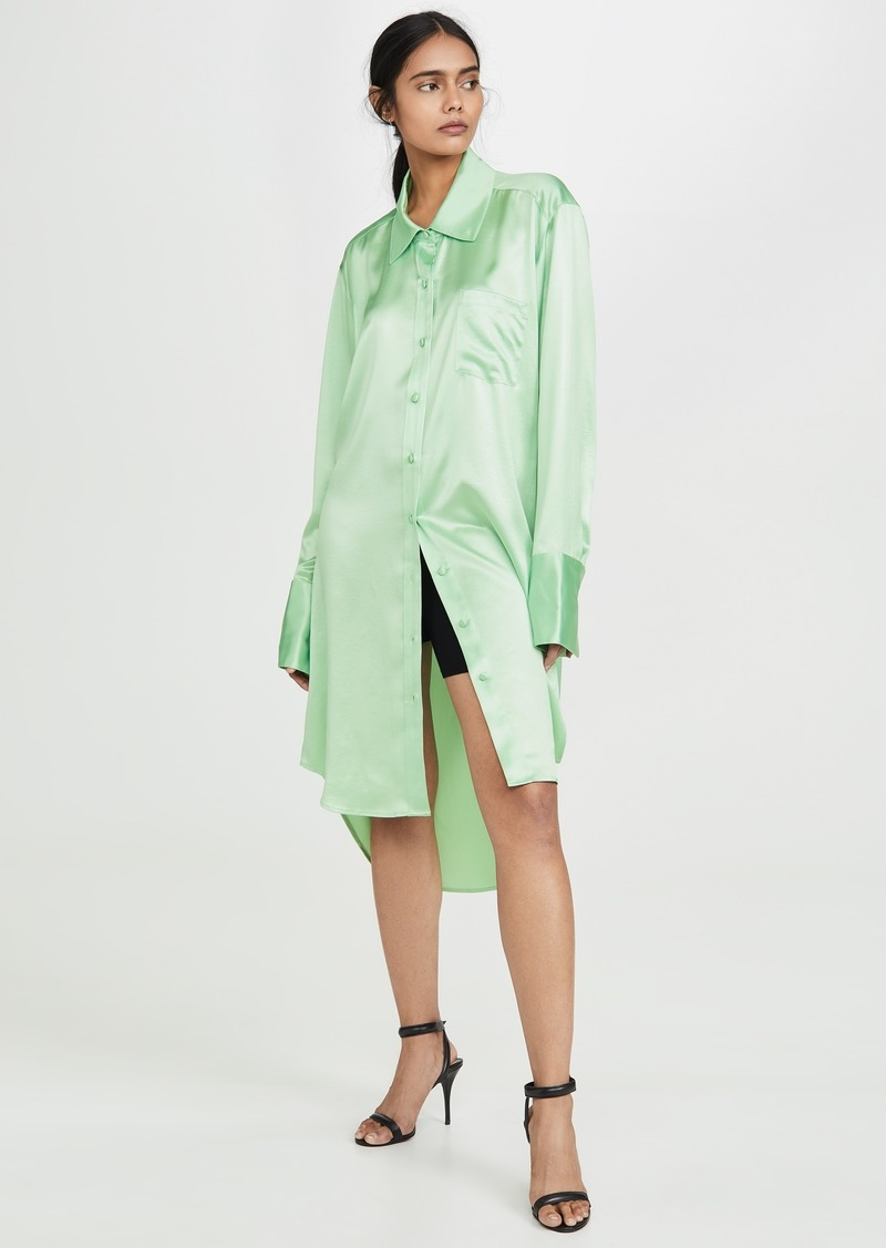T by Alexander Wang alexanderwang.t Wet Shine Oversized Button Down Shirt