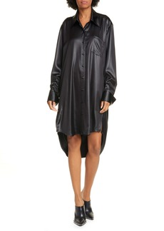 T by Alexander Wang alexanderwang.t Wet Shine Wash & Go Oversize Long Sleeve Shirtdress