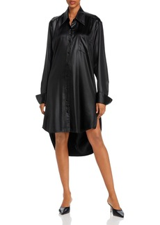 T by Alexander Wang alexanderwang.t Wet Shine Wash & Go Oversized Button-Down Dress