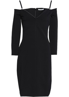 T by Alexander Wang Alexanderwang.t Woman Cold-shoulder Satin-trimmed Cutout Stretch-ponte Dress Black