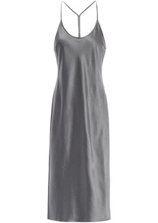 T by Alexander Wang Alexanderwang.t Woman Crinkled-satin Midi Slip Dress Grey Green