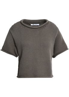 T by Alexander Wang Alexanderwang.t Woman Cropped Cotton-blend Sweater Taupe