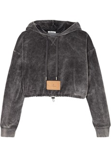 T by Alexander Wang Alexanderwang.t Woman Cropped Cotton-blend Velour Hooded Sweatshirt Dark Gray