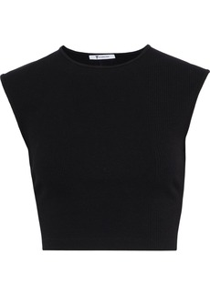 T by Alexander Wang Alexanderwang.t Woman Cropped Cutout Ribbed Stretch-jersey Top Black