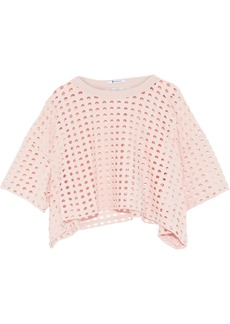 T by Alexander Wang Alexanderwang.t Woman Cropped Laser-cut Jersey Top Blush