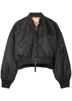 T by Alexander Wang Alexanderwang.t Woman Cropped Shell Bomber Jacket Black