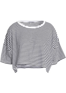 T by Alexander Wang Alexanderwang.t Woman Cropped Striped Cotton-jersey Top White