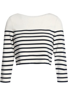 T by Alexander Wang Alexanderwang.t Woman Cropped Striped Jersey Top Off-white