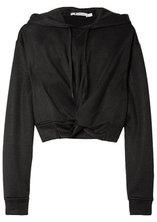 T by Alexander Wang Alexanderwang.t Woman Cropped Twist-front French Terry Hoodie Black