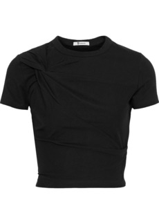 T by Alexander Wang Alexanderwang.t Woman Cropped Twisted Stretch-cotton Jersey T-shirt Black