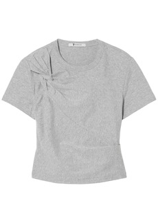 T by Alexander Wang Alexanderwang.t Woman Cropped Twisted Stretch-cotton Jersey T-shirt Stone