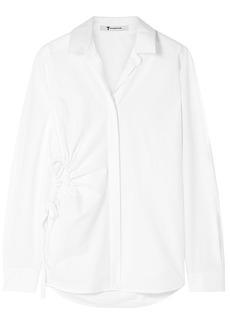 T by Alexander Wang Alexanderwang.t Woman Cutout Cotton-poplin Shirt White