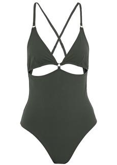 T by Alexander Wang Alexanderwang.t Woman Cutout Swimsuit Army Green